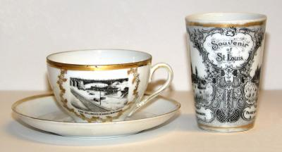 Souvenir Tea Cup, Saucer, and Tumbler