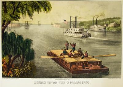 Bound Down the River by Nathaniel T. Currier and James Merritt Ives