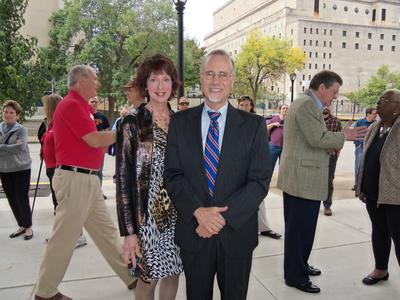 Dr_ Harbach and Chancellor George at Grand Center Opening 9_15_12.JPG